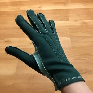 Green and teal Lilly Dache vintage gloves